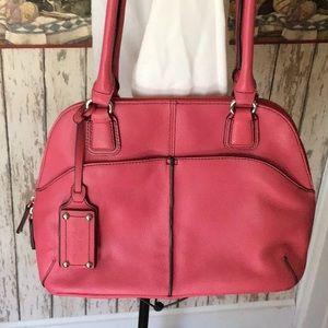 Tignanello Pink Leather Shoulder Bag